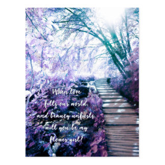 be my flower girl enchanted forest postcard