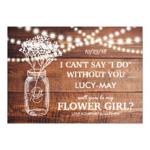 Rustic Country Mason Jar Flower Girl Cards