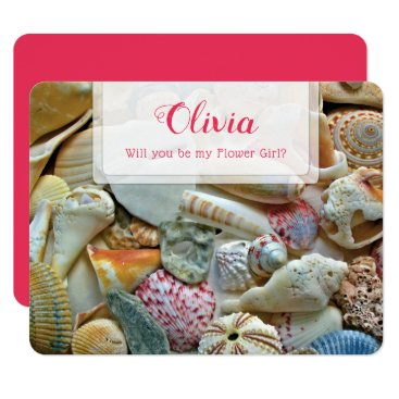Bride Themed Be My Flower Girl Seashells Personal Note Card