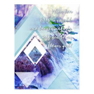 be my flower girl waterhaze invitation postcard