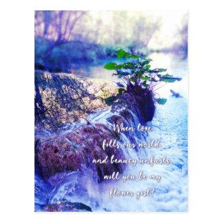 be my flower girl waterhaze invite postcard