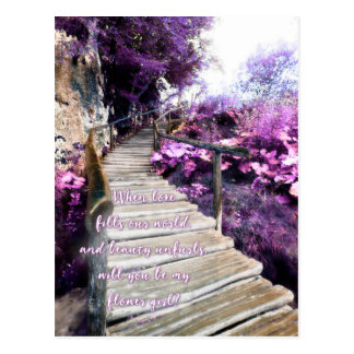 be my flower girl wooden path invite postcard
