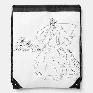 Be My Flowergirl Gift Wrap Bag Drawstring Bags
