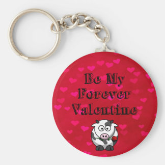 Be My Forever Valentine Cow Rose Basic Round Button Keychain