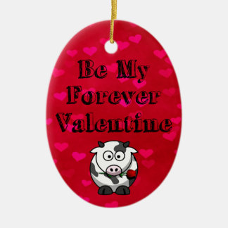 Be My Forever Valentine Cow Rose Ceramic Ornament