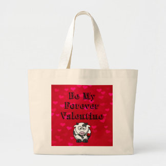 Be My Forever Valentine Cow Rose Large Tote Bag