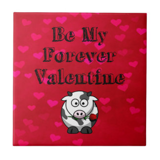 Be My Forever Valentine Cow Rose Tile