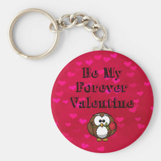 Be My Forever Valentine Owl Rose Basic Round Button Keychain