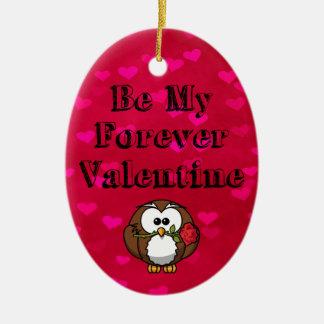 Be My Forever Valentine Owl Rose Ceramic Ornament