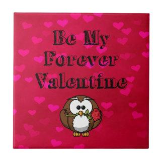 Be My Forever Valentine Owl Rose Ceramic Tile
