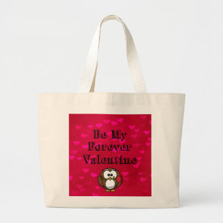 Be My Forever Valentine Owl Rose Large Tote Bag