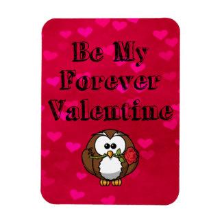 Be My Forever Valentine Owl Rose Magnet