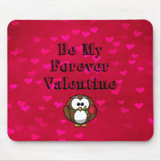 Be My Forever Valentine Owl Rose Mouse Pad