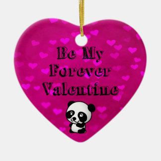 Be My Forever Valentine Panda Bear Ceramic Ornament