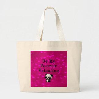 Be My Forever Valentine Panda Bear Large Tote Bag
