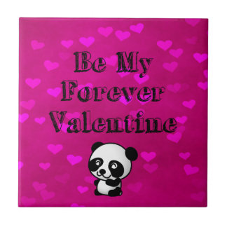 Be My Forever Valentine Panda Bear Tile