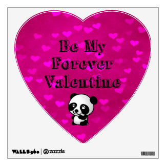 Be My Forever Valentine Panda Bear Wall Sticker