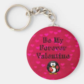 Be My Forever Valentine Penguin Basic Round Button Keychain