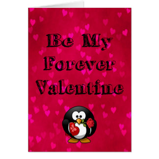 Be My Forever Valentine Penguin Card