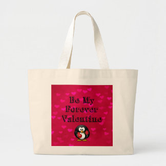 Be My Forever Valentine Penguin Large Tote Bag