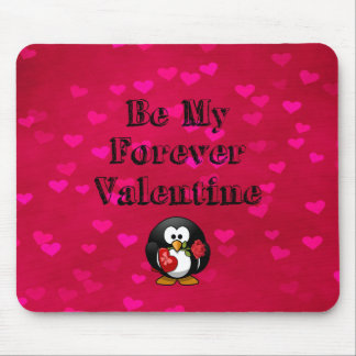 Be My Forever Valentine Penguin Mouse Pad