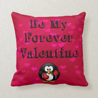 Be My Forever Valentine Penguin Throw Pillow