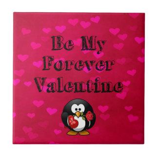 Be My Forever Valentine Penguin Tile