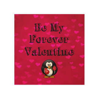 Be My Forever Valentine Penguin Wood Print
