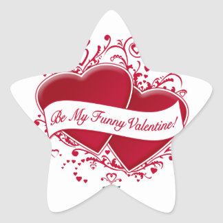 Be My Funny Valentine! Red Hearts Star Sticker