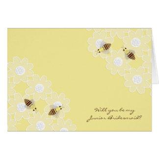 Be My Junior Bridesmaid Honey Bees on Yellow Greeting Card