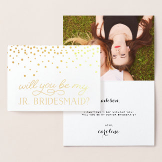 Be My Junior Bridesmaid | Personalized Photo Gold Foil Card