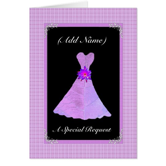 Be My Junior Bridesmaid  - PURPLE Leaf Dress Card