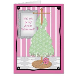 Be My Junior Bridesmaid Whimsical Dress Shop Card