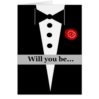 Be My Junior Groomsman Card with Tux and Rose