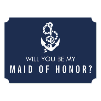Be My Maid of Honor Card | Nautical Rope & Anchor