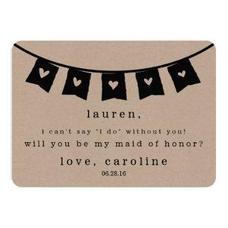 Be My Maid of Honor Card | Rustic Kraft Hearts