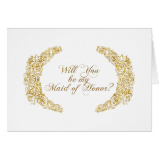 Be my Maid of Honor Engraved Gold Flower Leaf Art Card