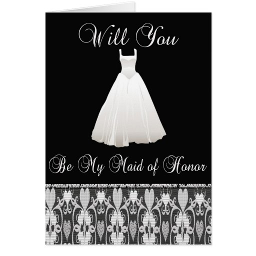 Be My Maid of Honor Invitation in Lace