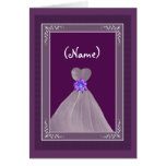 Be My Maid of Honor - PLUM Theme with Flowing Gown Greeting Cards