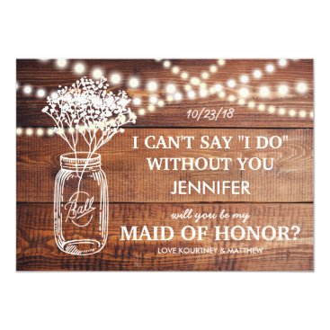 Toddler & Baby themed BE MY MAID OF HONOR   RUSTIC COUNTRY BRIDESMAID CARD