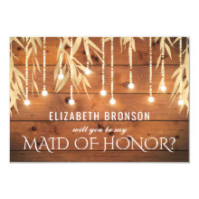 Be my Maid of Honor | Rustic Gold Foil Cards