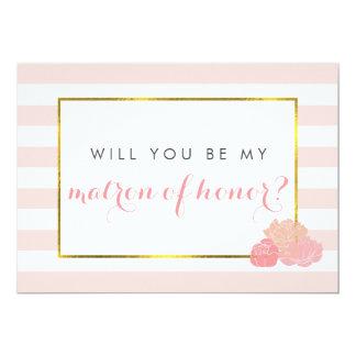Be My Matron of Honor Card Pink Stripe Blush Peony