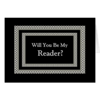Be My READER  Checkerboard Wedding Invitation Greeting Card