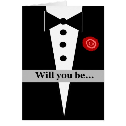 Be My Ring Bearer Card with Tux and Rose