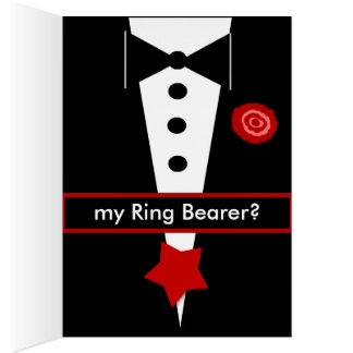 Be My Ring Bearer CUSTOM NAME Card Tux and Rose 4