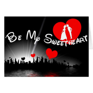 Be My Sweetheart Valentine Card in Red and Black
