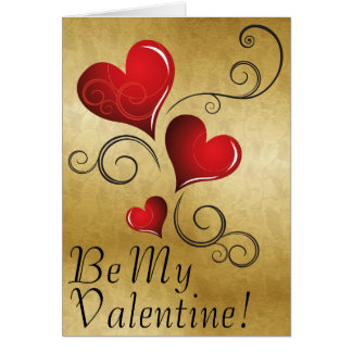 Be My Valentine - 3 red hearts Card