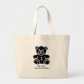 Be My Valentine Bear Black 2 The MUSEUM Zazzle Gif Large Tote Bag