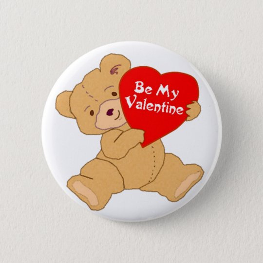 Be My Valentine Bear Pinback Button