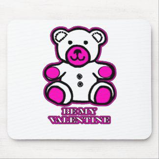 Be My Valentine Bear White Magenta The MUSEUM Zazz Mouse Pad